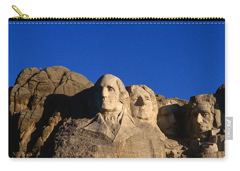 Mt Rushmore National Monument Carry-all Pouch featuring the photograph Daytime Moon Above Presidential Faces by Mark Newman