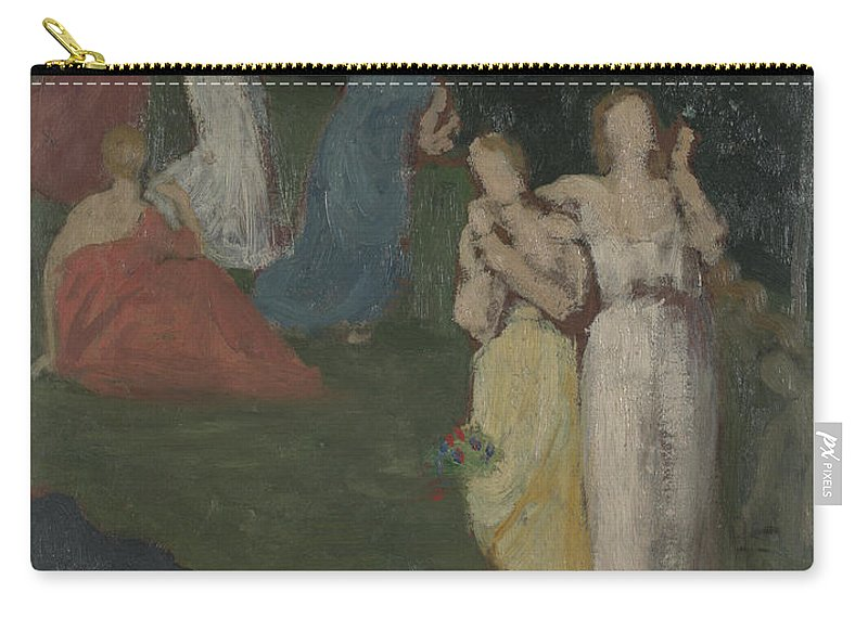 Pierre-cécile Puvis De Chavannes Carry-all Pouch featuring the painting Death And The Maidens by Pierre C cile Puvis de Chavannes