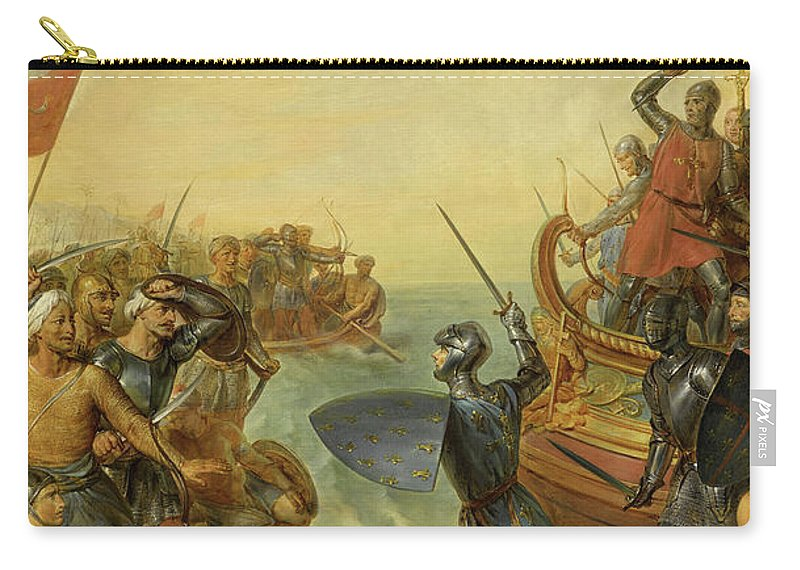 Siege Of Damietta Carry-all Pouch featuring the painting Debarquement De Saint-louis En Egypte, 1249 by Georges Rouget
