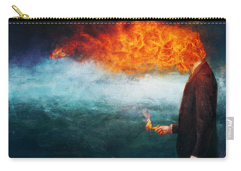 Fire Carry-all Pouch featuring the painting Deep by Mario Sanchez Nevado