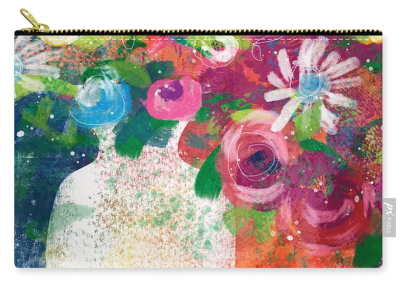 Floral Carry-all Pouch featuring the mixed media Delightful Bouquet 2- Art By Linda Woods by Linda Woods