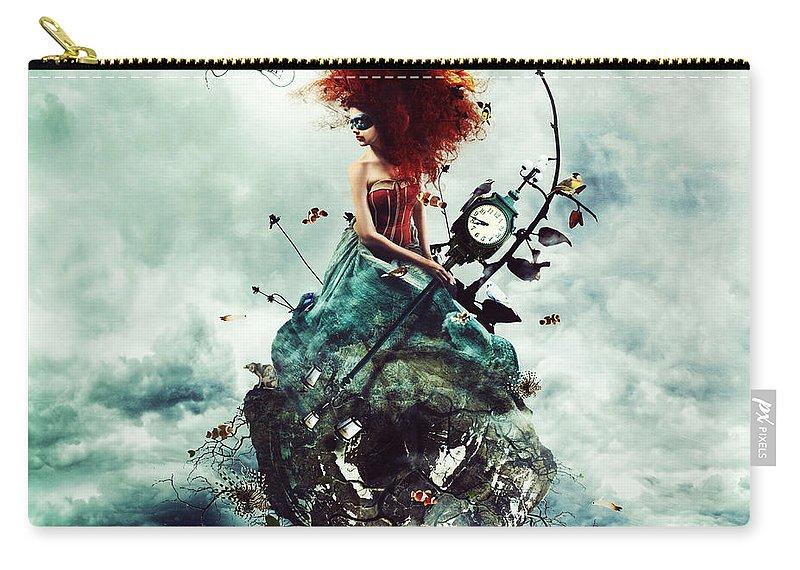Crazy Carry-all Pouch featuring the digital art Delirium by Mario Sanchez Nevado
