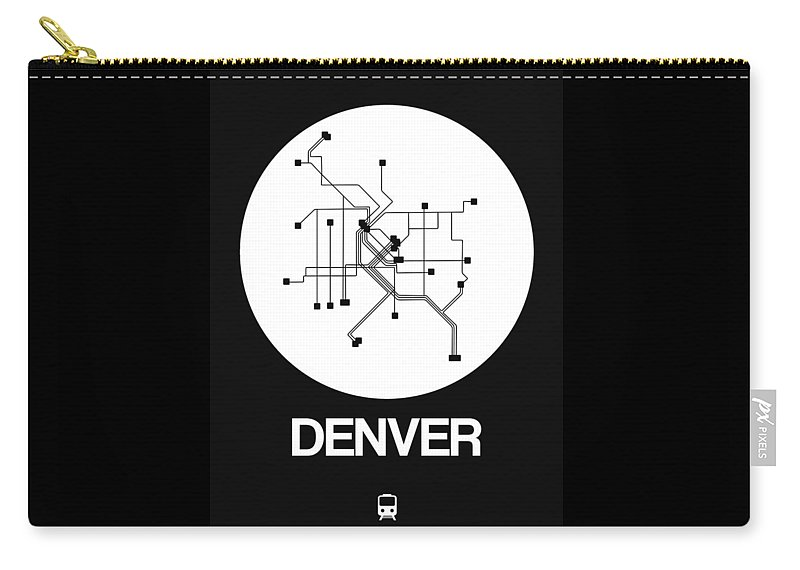 Vacation Carry-all Pouch featuring the digital art Denver White Subway Map by Naxart Studio