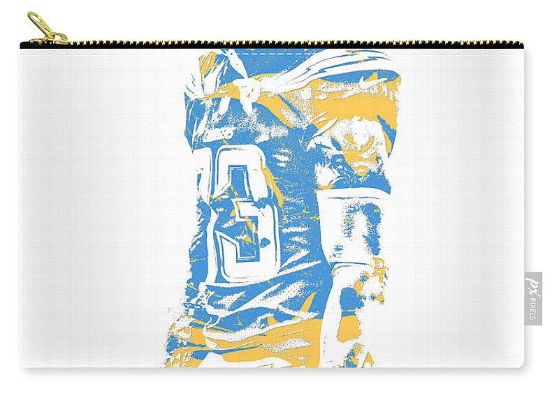 Derwin James Carry-all Pouch featuring the mixed media Derwin James Los Angeles Chargers Pixel Art 2 by Joe Hamilton