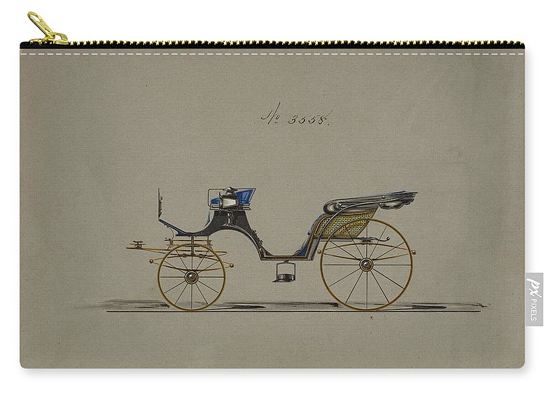 Vintage Carry-all Pouch featuring the painting Design For Cabriolet Or Victoria, No. 3558 1879 by MotionAge Designs