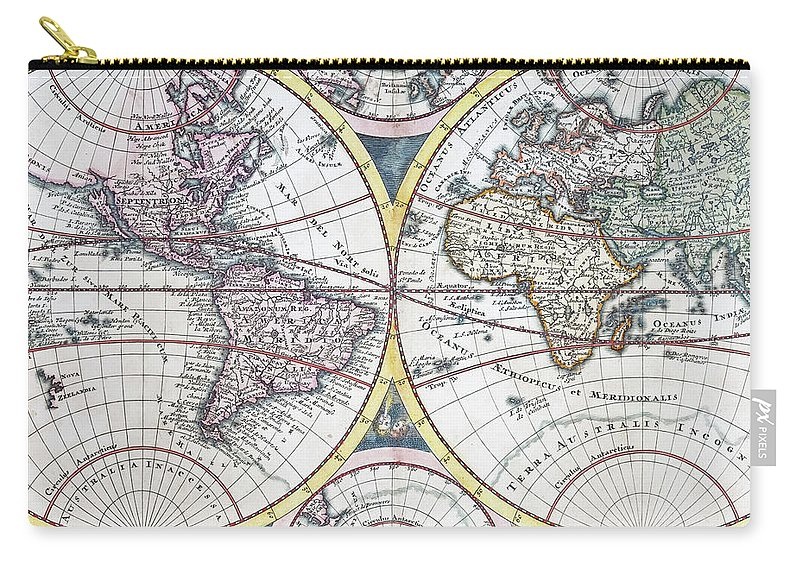 Engraving Carry-all Pouch featuring the digital art Detail Copper Engraving Of World Map by Grafissimo