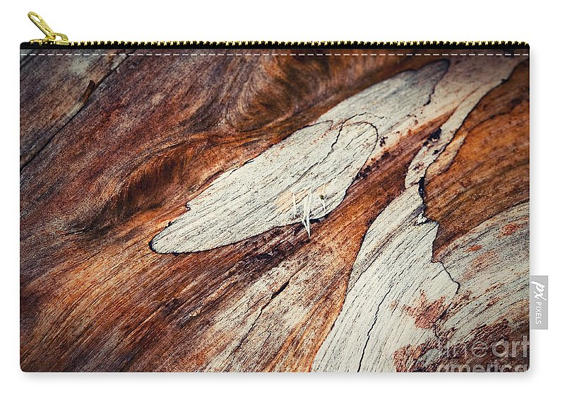 Cut Carry-all Pouch featuring the photograph Detail Of Abstract Shape On Old Wood by Jozef Jankola