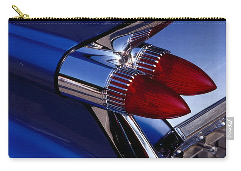 Silver Colored Carry-all Pouch featuring the photograph Detail Of An American Cadillac, Eze by Richard I'anson