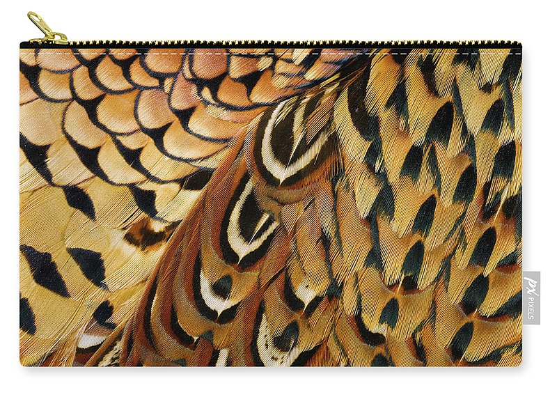 Orange Color Carry-all Pouch featuring the photograph Detail Of Pheasant Feathers by Jeffrey Coolidge