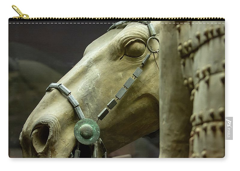 Warrior Carry-all Pouch featuring the photograph Details Of Head Of Horse From Terra Cotta Warriors, Xian, China by Karen Foley