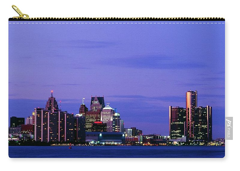 Downtown District Carry-all Pouch featuring the photograph Detroit Skyline At Night In Usa by Design Pics
