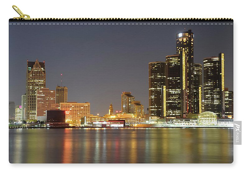 Downtown District Carry-all Pouch featuring the photograph Detroit Skyline At Night by Rivernorthphotography