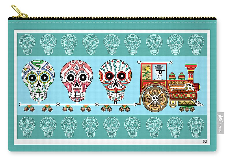 Dead Carry-all Pouch featuring the digital art Dia De Muertos Train by Mark Gillespie