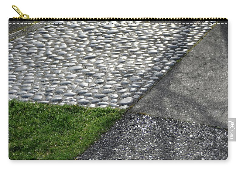 Grass Carry-all Pouch featuring the photograph Different Textures Of Sidewalk, And by Aaron Mccoy