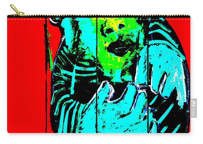 Red Carry-all Pouch featuring the digital art Digital Monkey 4 by Edgeworth DotBlog