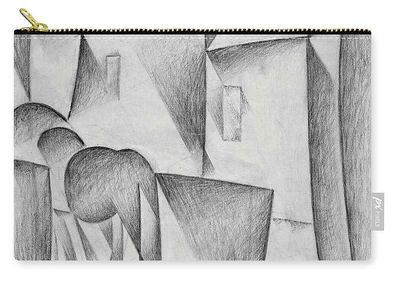 Houses In Paris Carry-all Pouch featuring the drawing Digital Remastered Edition - Houses In Paris, Place Ravignan - Original White by Juan Gris