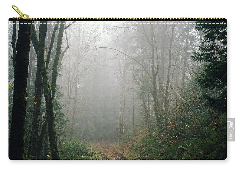 Tranquility Carry-all Pouch featuring the photograph Dirt Road Leading Through Foggy Forest by Danielle D. Hughson