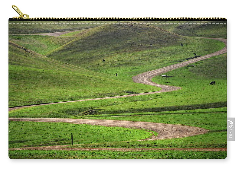 Tranquility Carry-all Pouch featuring the photograph Dirt Road Through Green Hills by Mitch Diamond