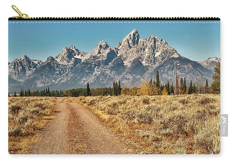 Tranquility Carry-all Pouch featuring the photograph Dirt Road To Tetons by Jeff R Clow