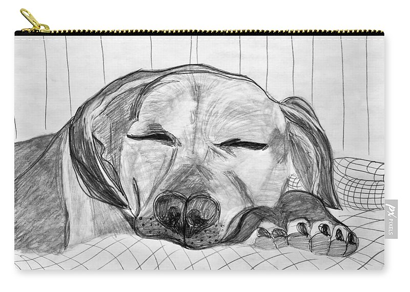 Dog Carry-all Pouch featuring the drawing Django Napping by Kerin Bowen