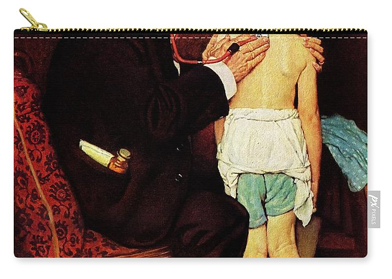 Doctor Carry-all Pouch featuring the drawing Doc Melhorn And The Pearly Gates by Norman Rockwell
