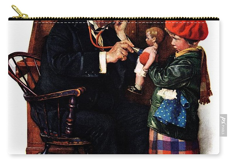 Doctors Carry-all Pouch featuring the drawing Doctor And The Doll by Norman Rockwell