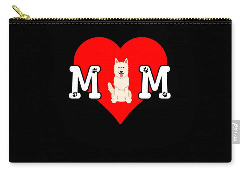 Dog-breed Carry-all Pouch featuring the digital art Dog Mom Heart Paw Prints White Swiss Shepherd Dog by Jose O