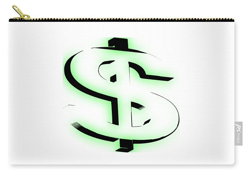 Cash Carry-all Pouch featuring the digital art Dollar Sign Money by Garrett Butler