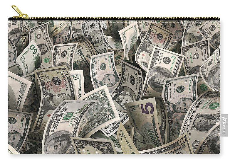 Five Dollar Bill Carry-all Pouch featuring the photograph Dollars by Ktsfotos