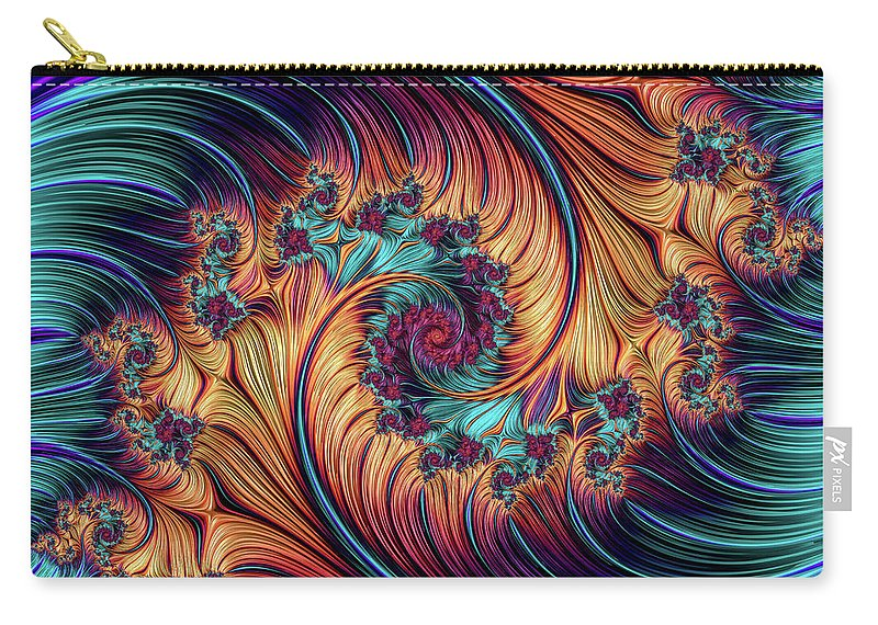 Fractal Carry-all Pouch featuring the digital art Double Fractal Spiral by Hakon Soreide