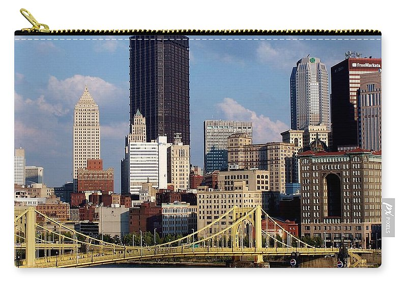 Downtown District Carry-all Pouch featuring the photograph Downtown Pittsburgh Panorama From Pnc by Photo By Paul D. Toth