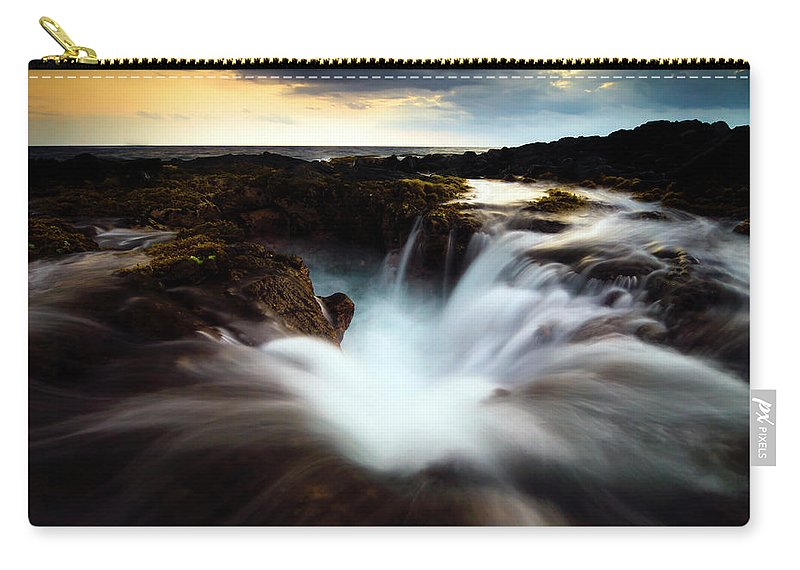 Kona Carry-all Pouch featuring the photograph Dramatic Blow Hole by Christopher Johnson