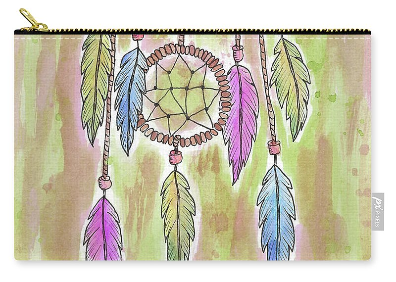 Watercolor And Ink Carry-all Pouch featuring the painting Dream Catcher by Susan Campbell