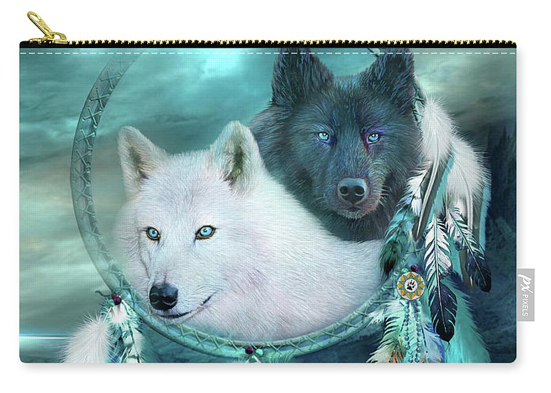 Dream Catcher - White Wolf Black Wolf Carry-all Pouch