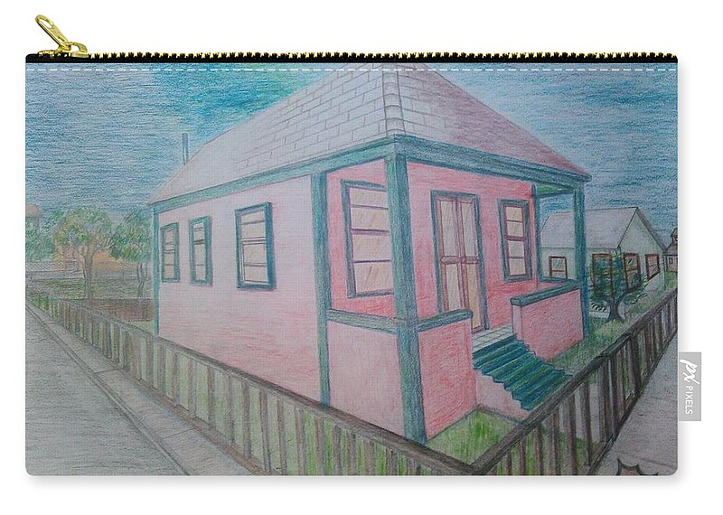 Drawing By Andrew Johnson Carry-all Pouch featuring the drawing Dream Cottage by Andrew Johnson