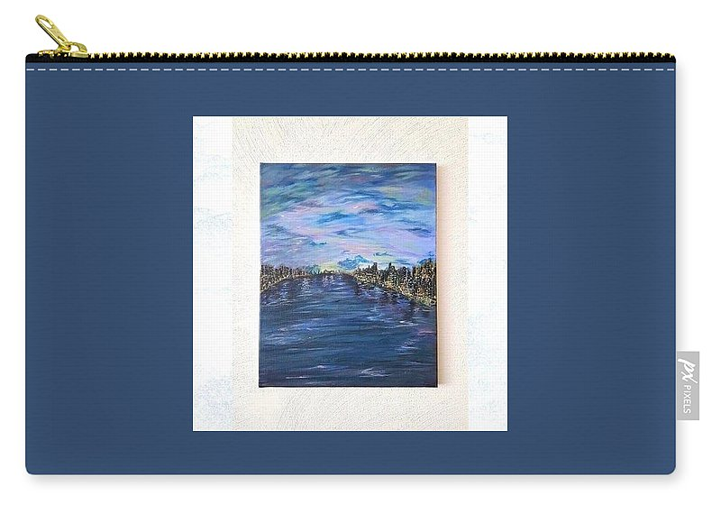 Landscape Carry-all Pouch featuring the painting Dreamy Sky        by Elif Basol