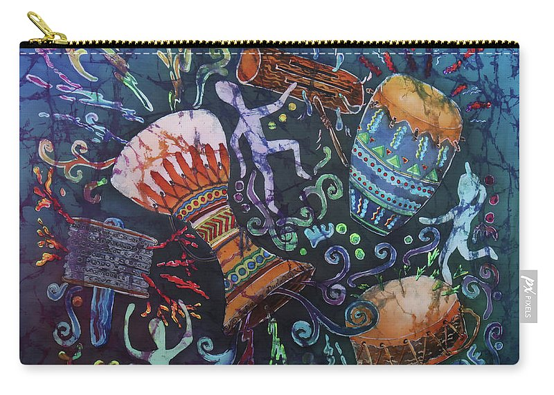 Drums Carry-all Pouch featuring the painting Drumbeat by Sue Duda