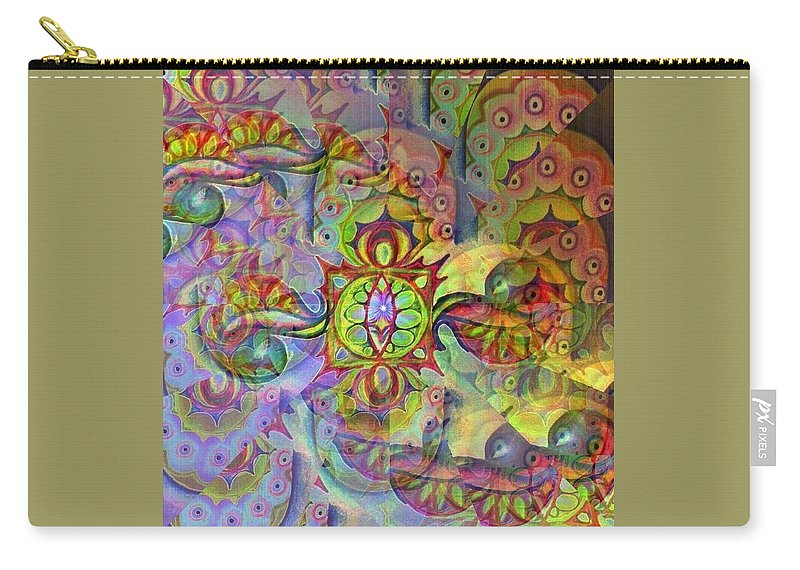 Summetry Illusion Colours Carry-all Pouch featuring the digital art Duality by Zofia Kusch