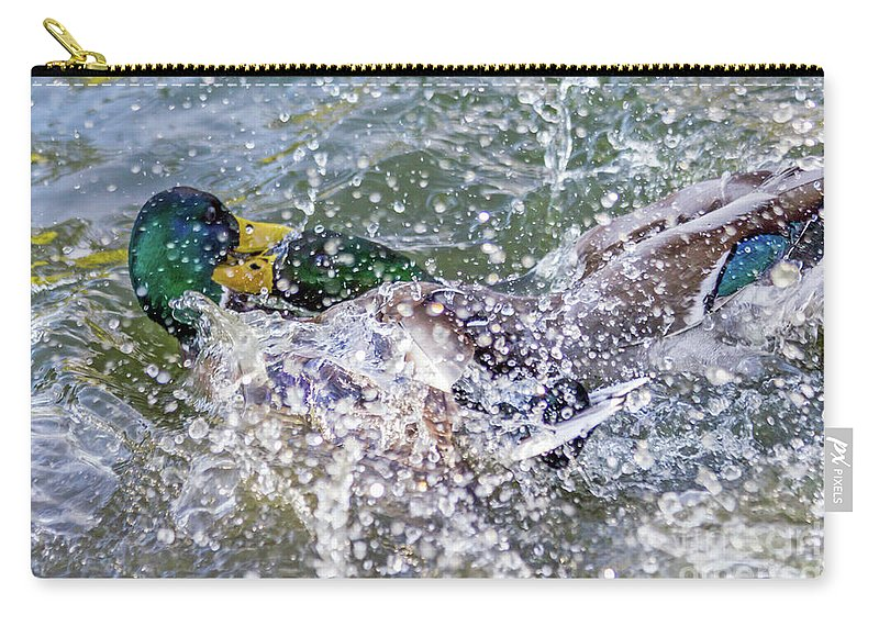 Anas Platyrhynchos Carry-all Pouch featuring the photograph Duck Fight by Kate Brown