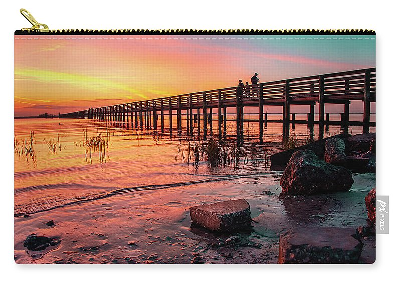 Sunset Carry-all Pouch featuring the photograph Dunedin Pier by Ashleena Valene Taylor