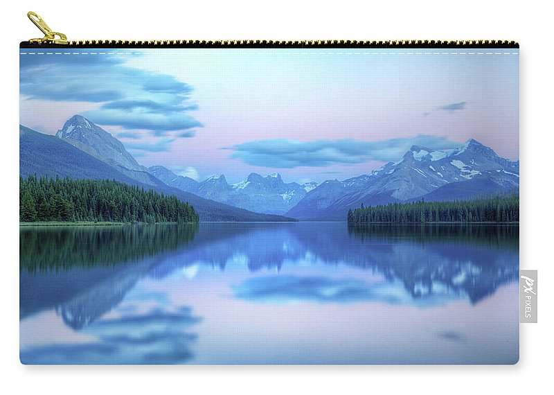 Moraine Lake Carry-all Pouch featuring the photograph Dusk On Maligne Lake by Bike maverick