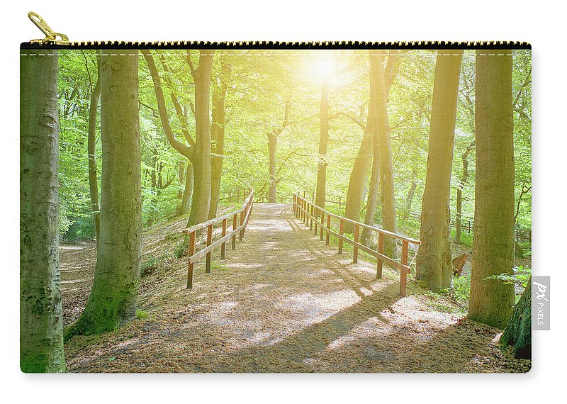 Scenics Carry-all Pouch featuring the photograph Dutch Forest With Fenced Footpath And by Cirano83
