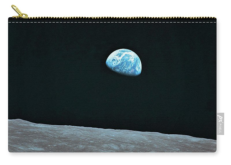Black Color Carry-all Pouch featuring the photograph Earth And Lunar Landscape by Digital Vision.