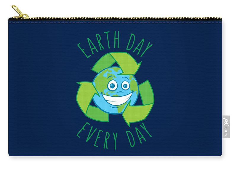 Green Carry-all Pouch featuring the digital art Earth Day Every Day Recycle Cartoon by John Schwegel