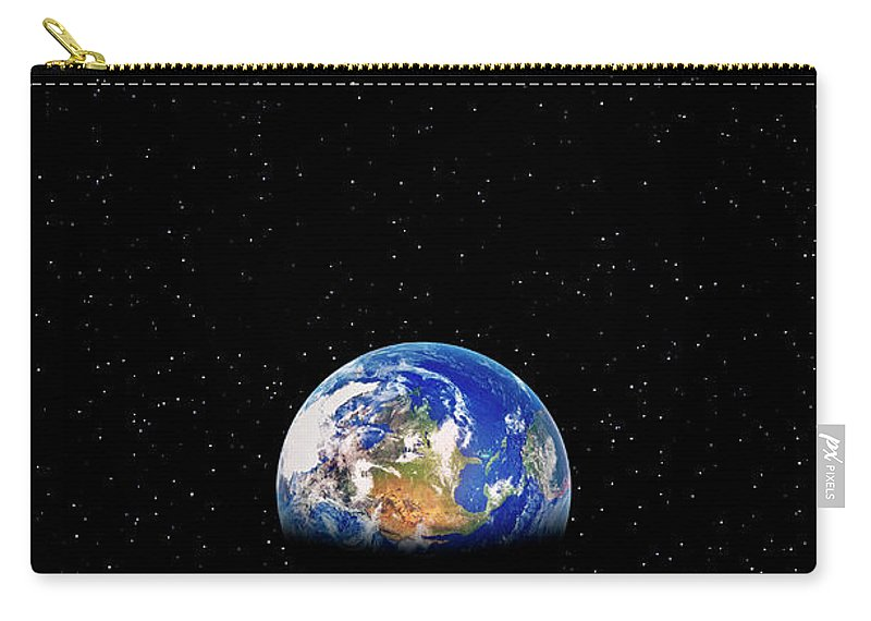 Planetary Moon Carry-all Pouch featuring the photograph Earth Rising Over Moon by Rob Atkins