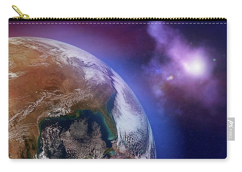 Globe Carry-all Pouch featuring the photograph Earth With Stars by Dem10