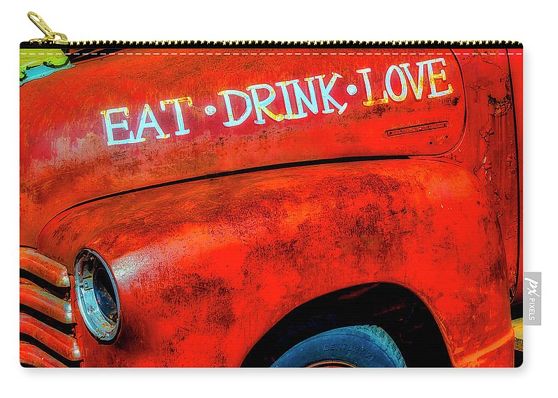 Eat Carry-all Pouch featuring the photograph Eat Drink Love Rusty Truck by Garry Gay