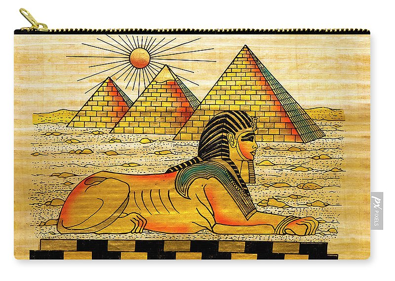 Ancient History Carry-all Pouch featuring the digital art Egyptian Souvenir Papyrus by Ewg3d