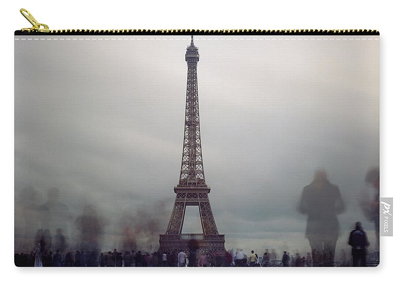 Crowd Carry-all Pouch featuring the photograph Eiffel Tower And Crowds by Zeb Andrews
