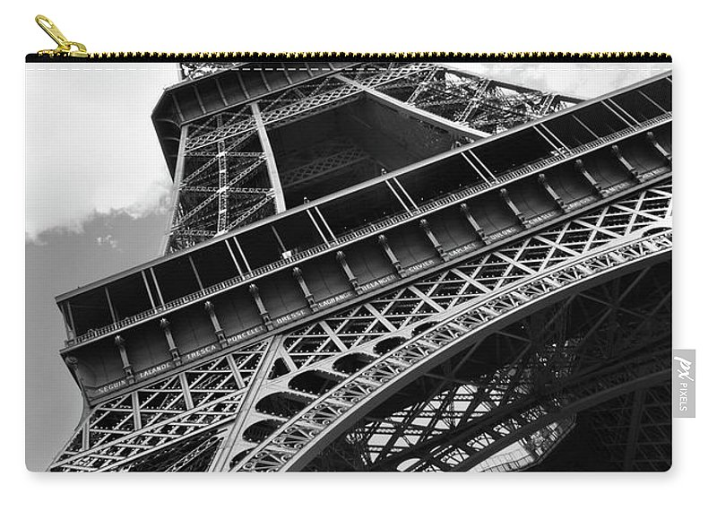 Black Color Carry-all Pouch featuring the photograph Eiffel Tower In Black And White by Sarah8000